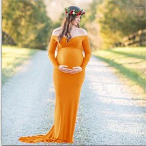 Fotografia Woman Dress Plus Size Dress maternità cotone mercerizzato con scollo a V A spalle manica lunga maxi vestiti in gravidanza
