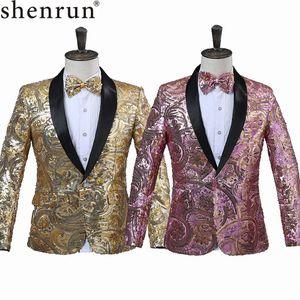 SHENRUN 남성 핑크 골드 꽃 장식 조각 화려한 쇳조각 웨딩 싱어 스테이지 성능 정장 재킷 연간 DJ 블레이저와 나비 넥타이