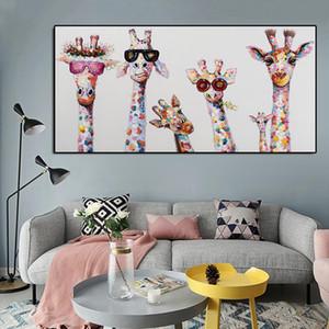Любопытные жирафов Семья Холст Печать плакатов Дети Nurse номер стены Art Decor Жираф Ношение очки Смешные картинки без рамки