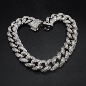 Hip Hop personnalisé 3Row CZ Bracelet Collier Glacé CZ Bling 25mm Chaînes chaîne Cuban Link Collier hommes Rue Rock Rap Bijoux LFSA #