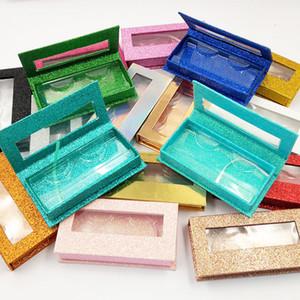 Muti Renk Oblong 3 7QL C2 Packaging Kutu Yanlış Eyelashes Kutuları Alt Tepsi Kozmetik Montaj Şeffaf Kağıt Hatları Kirpik Kılıf