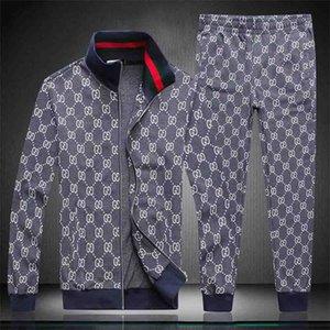 2020 Men's Sporting Suit Male Tracksuit Men Spring Autumn Casual Sportswear Big Size Jacket+Pants Clothing Sets Plus Size M-XXXL