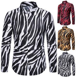 Tamaño hombres Streetwear EEUU Camisa piel de la cebra impresa del partido del smoking camisa de manga larga de peso ligero Oficina de manera masculino