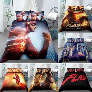 Flash man movie cartoon Design Digital Printing Bedding Set Duvet Cover Pillowcase Bedclothes Single size Dropshipping Boy Gife