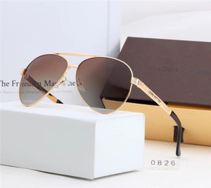 Luxurious Metal frame sunglasses for Men women outdoor driving frog mirror L̴V beach Lõuis Vuittõn Holiday sun glasses