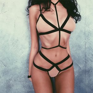 Women Mesh Sexy Bra Sets Alluring Cross Strap 2 Piece Underwear Suit Sexy Bandage Condole Belt Bras Sets