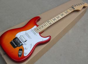 Chitarra elettrica rossa della ciliegia all'ingrosso della fabbrica con la rosa di Floyd, la tastiera di acero con l'intarsio stellato, può essere personalizzato come reques