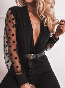 Mesh Puff Sleeve Dot Black Tops Pullover Blouse Casual Women Clothing Fashion V Neck Women Blouse Ladies