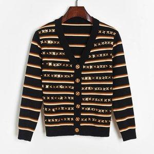 Autumn winter new women's 3d beaded sequins V-neck striped jumper knitwear sweater