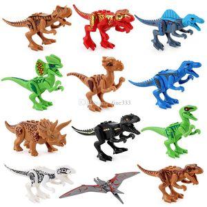 Bloque Puzzle dinosaurio Jurásico figuras de acción coleccionables ABS Minifig modelo de distribución de la sorpresa de la muñeca DIY Ladrillos juego Bloques Minifig