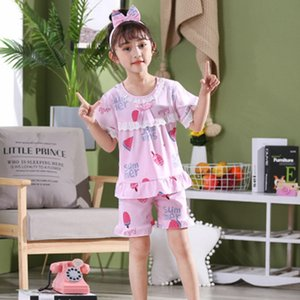 Lovely lace Kids Pajamas Sets Cotton Sleepwear Suit Summer Girls Pyjamas Short-Sleeved homewear 2pcs Children Princess pijamas