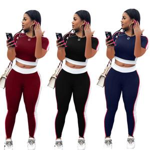 여성 두 조각 세트 라운드 넥 패치 워크 블랙 투피스 바지 세트 여성 여성 운동복 후드 운동복 자르기 탑 + 바지 DHL 무료