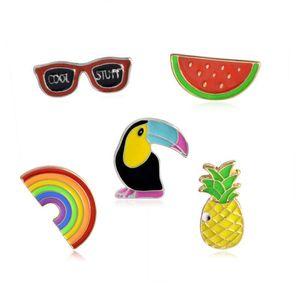 Arco-íris Óculos Fruit pássaro broche de metal crachá rígido Esmalte Pin Botão Colecção shirt Collar Denim Crianças Hat Acessório Jóias presente DHB680