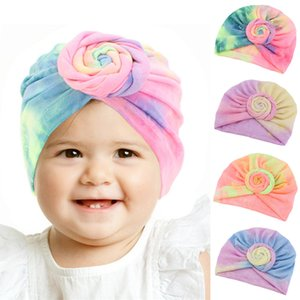 4 color Baby Turban Hat Gradient Toddler Knot Caps Elastic Girls hair band turbans Kids head wrap Baby Headwear hair accessories JJ592