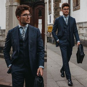 3-piece Gentlemen Cotton Blend Navy Stripe Business Party Blazer Suit Peaked Lapel Formal Wedding Tuxedos Slim Fit Men Suits
