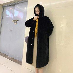 Faux Pelz Nachahmung Mantel Temperament halber Länge losen dick Wärme weich und zart Größe mit Kapuze Frauen