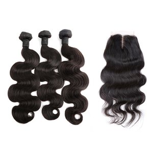 Voller Kopf Weaves Bundles mit Closure 4x4-Körper-Wellen-brasilianischen Jungfrau-Haar-Verlängerungen einschlag mit Lace Closure Mittelteil Bella Haar