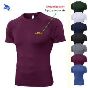 Customize Print Men's Running T-Shirts Quick Dry Compression Sport Shirt Fitness Gym Soccer Jerseys Elastic Sportswear Top Tees