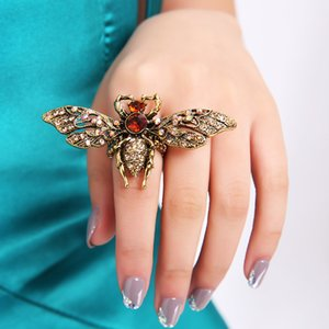 Colorful Crystal Stone Inlaid Anti Gold Color Metal Bee Rings Elastic Adjustable Finger Ring Fashion Women Party Jewelry