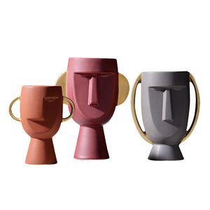 Big Golden Ears Face Vase Ceramic Human Face Sculpture Modern Abstract Flower Arrangement Ceramics Hand Craft for Home Hotel Bar