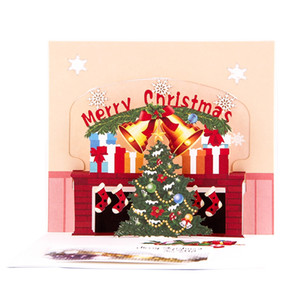 Winter Festival Greeting Gifts Card 3D Popup Christmas Tree Christmas Card Happy Holiday Invitations Blessing for Relatives
