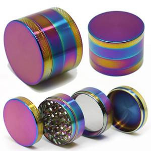 Arco iris en seco Grinder Grinder 4 partes de metal de la especia trituradora amoladoras con Sharpstone No Logo 40mm 50mm 55mm 63mm