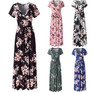 Ponto tendência 2020 Primavera de estilo europeu e no verão impressão feminina de praia vestido de saia longa explosiva de mangas curtas, apoiar lote misto