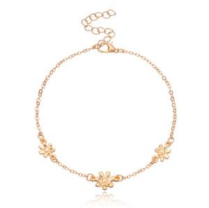 Lovely Womens Ankle Bracelets Daisy Charm Anklet Bracelet Barefoot Sandals For Girls Ladies ( Gold ,Silver)