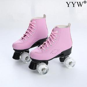 Розовый Роликовые коньки 4 колеса Коньки для девочек Base Колеса Pu Обувь Колеса Доставка Синий Skating Ролики Двухрядные роликовые