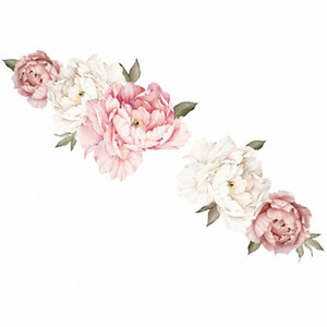 40x60cm Decals Mural Art Floral Pattern Home Decor Mirror Surface Romantic PVC Living Room Wall Sticker Bedroom DIY Peony Flower dUbK#