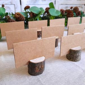 40pcs 20Sets legno naturale supporto dell'appunto Corteccia a Pile Partito legno decorativo Nome Luogo supporti di carta Menu Matrimonio Compleanno Decor