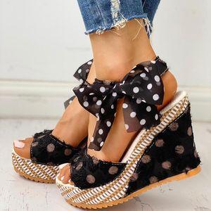 Women's Ladies Platform Wedges Heel Sandals Fashion Dot Lace-up Shoes Footwear Platform Wedge Slides Beach Shoes Chaussures cs05