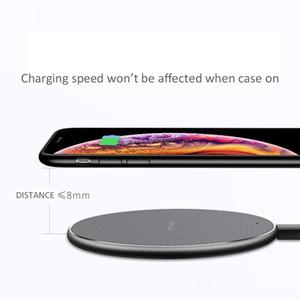 Mobile Phone 10W Fast Charge sem fio Q1 rápida indicador de carga LED Pad carregador inteligente várias cores 0,5m / 1m cabo opcional