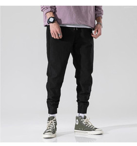 Hommes Crayon Pantalons Quatre saisons Relaxed Pantalons jeunesse Casual été Pantalons simple Mens solide couleur loose