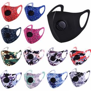 Ice Silk Gesichtsmaske mit Valve Anti-Staub-Masken Waschbar Wiederverwendbare Schutzgesichtsmaske Schwarz Camo gedruckte Masken HHA1482