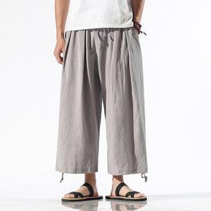 Men's Pants Streetwear Harem Men Summer Casual Wide-leg Mens Joggers Cotton Breathable Sweatpants Ankle-length Trousers