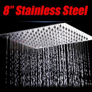 "8"" Square Rainfall Stainless Steel Rain Shower Head Bathroom Top Ceiling Sprayer"