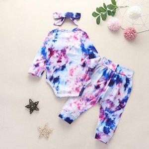 Autumn New Baby Tie-dye vestuário Define 3pcs manga comprida Romper + Calças + Carneiras / define Moda Crianças menino meninas Gradiente Outfits