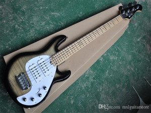 Factory custom Brown body 5 Strings Electric Bass Guitar with Chrome Hardwares,Neck-thru-body,can be customized