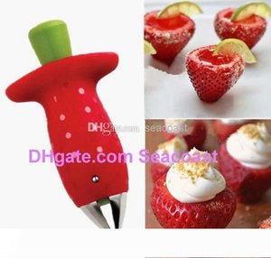 Free shipping 60pcs NEW Red Strawberry Stem Leaves Huller Remover Removal Fruit Corer Kitchen Tool Gadgets