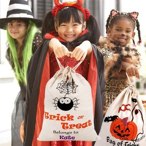 36x44cm Halloween Trick or Treat Bags for Kids Spider Pumpkin Candy Bag Canvas Drawstring Gift Bag Halloween Party Decoration