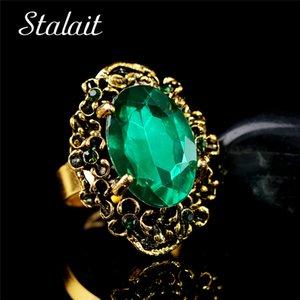 Or Vintage Bronze Antique Couleur Vert Pierre Cristal Strass Bijoux Annulaire réglable femmes mariage de la mode 1105
