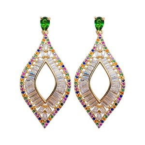 Vintage Geometric Diamond-shaped Earrings For Women Elegant Earring 925 Silver Needle Exaggerated Wedding Jewelry With Cubic Zircon