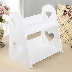 2-Tier Heart-shaped Wood Storage rack Bedroom Kitchen Bathroom Tabletop Decoration Home Space Saving Organizer Cosmetic Shelf T200115