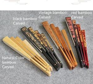 Gran espacio en blanco hueso Arroz blanco de papel plegable del ventilador del arte del ventilador de bambú tallado chino Fan adultos bricolaje Pintura Programas caligrafía 10pcs / lot