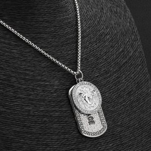 Hot sale Hip Hop Designer Necklaces Vintage Women Head Iced Out Lion Head Dog Tag Pendant Jewelry Christmas Gift