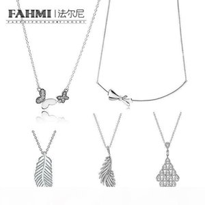 FAHMI 100% 925 Sterling Silver Charm BRILLIANT BOW NECKLACE Kette Schimmernde Phoenixfeder CASCADING GLAMOUR