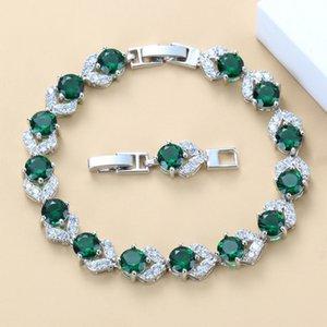 Серебро Цвет Высокое качество зеленый Создано ювелирные изделия изумруд браслет здоровья Мода для женщин Свободная коробка ювелирных изделий SL128