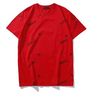 19SS 편지 인쇄 디자인 T 셔츠 남성 여성 커플 패션 옴므 티 캐주얼 여름 짧은 소매 의류 꽃 통기성 S-2XL