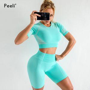 Peeli 2020 Ultra senza saldatura Yoga Crop Set Donne Fitness Abbigliamento Gym Set sportivo manica corta Abiti Top vita alta Shorts Sport